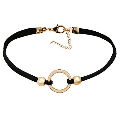 Epinki Damen Choker, Doppelt Halskette Samtband O-Ring Form Anhänger Rock Hoker Gothic Halsband Halsschmuck Schwarz Gold 32.4CM (Halloween Tumblr Transparent)