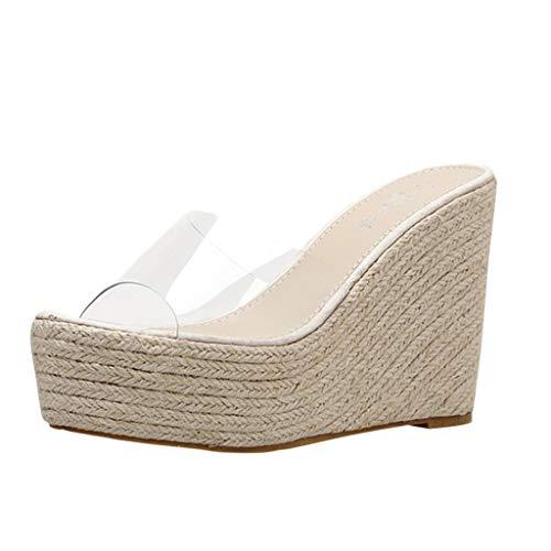 Mitlfuny Damen Sommer Sandalen Bohemian Flach Sandaletten Sommer Strand Schuhe,Frauen-Elegante Sommer-Dame Leisure Platform Hemp Sandals Wedge Beach Slippers (Qupid Womens Schuhe)