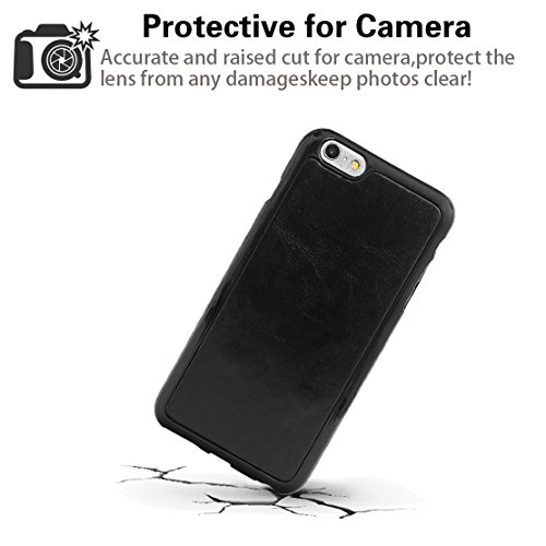 """xhorizon TM MLK [détachable] [séparable] 2 en 1 haut de gamme en cuir double-pli carte magnétique soutien le téléphone Compatible avec l'étui portefeuille avec cordon pour Apple iPhone 7 [4.7""""] noir +9H Glass Tempered Film"""