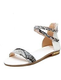 MERUMOTE Damen Flache Schnalle Offene Sommer Outdoor Niedrigen Ferse Sandale Schuhe Weiß 41 EU