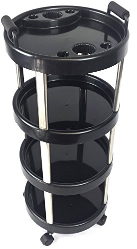 TekNoh Revolve – Salon Storage Trolley – Black – Hairdresser Barber Hair Beauty Drawers Spa Cart