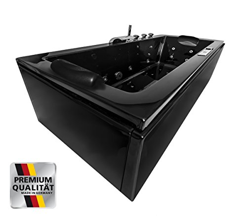 Schwarze Whirlpool Badewanne Relax Profi schwarz MADE IN GERMANY 180 / 190 / 200 x 80 / 90 cm mit 24 Massage Düsen + LED + Heizung + Ozon + MIT Messing Armaturen Eckwanne rechts + links Eckbadewanne