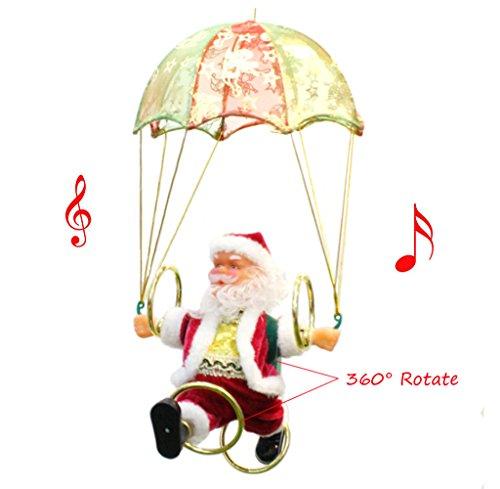 FHD Weihnachten Weihnachtsmann Figur Suspension Fliegen Fallschirm Santa Singen 360 ° Drehen Elektrische Weihnachtsmann Spielzeug für Kinder XMAS Dekorationen Weihnachten Lustige Geschenk und (Klänge Der Kostüme Musik)