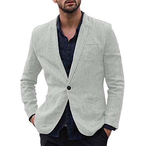 Xmiral Herren Dünn Jackett Outwear Umlegekragen Einfarbig Sport Shirt mit Tasche Slim Fit Wanderjacke Formal Geschäft Arbeitsplätze Mantel(b Grau,XXL)