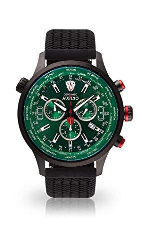 DETOMASO AURINO Herren-Armbanduhr Chronograph Analog Quarz schwarzes Silikonarmband grünes Zifferblatt DT1061-K-771