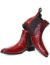 124aba0ca85d09 PeppeShoes Modello Machette - Handgemachtes Italienisch Leder Herren Rot  Stiefeletten Chelsea Stiefel - Rindsleder…
