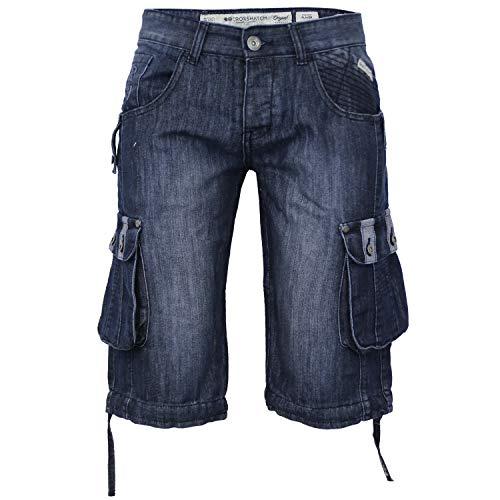 Crosshatch - Herren Denim Jeans Cargo Kombat Short Verblasst Sommer Designer Freizeit YER - Stein gewaschen - Playernew, W40 x Regulär -