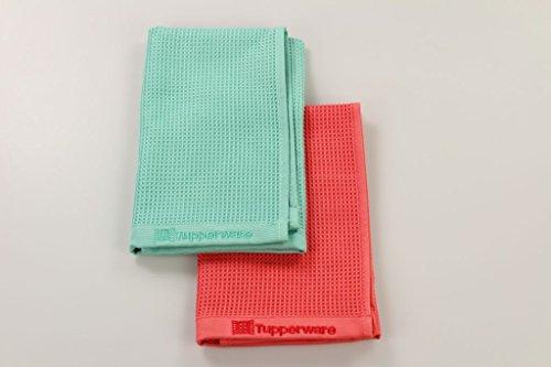 TUPPERWARE Glas türkis rot Mikrofaser Fenster Tuch FaserPro 10069