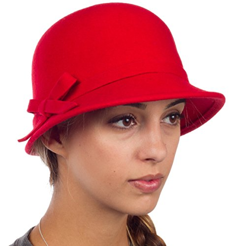 Sakkas 0621LC - Womens Vintage Style Wolle Cloche Eimer Winter Hut mit Ribbon Bogen Accent - Rot / One Size