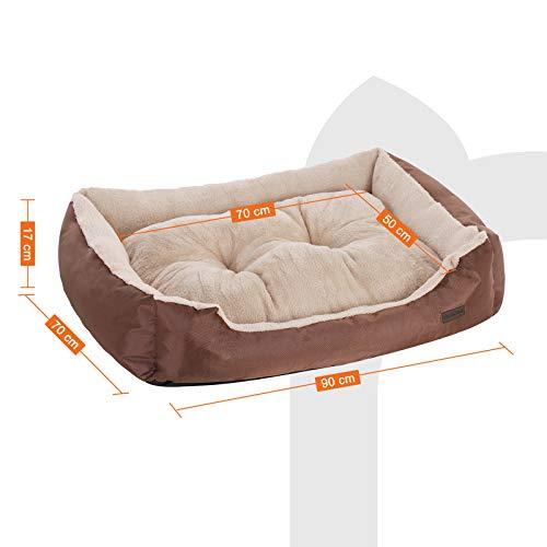 SONGMICS Hundebett mit beideseitig nutzbarem Hundekissen, kuschelig und groß (L: 90 x 70 x 17 cm) - 4