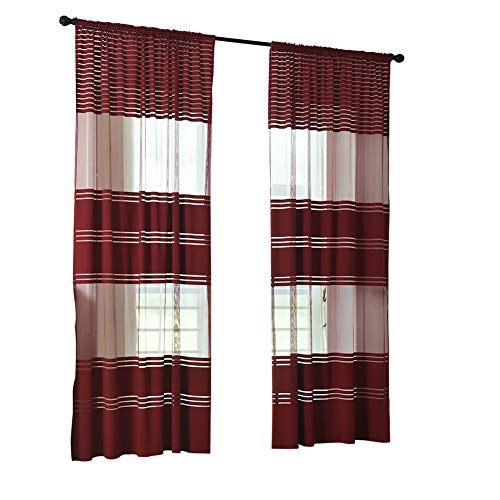Shyyymaoyi Verdunkelungsvorhänge mit Streifen, ultradünn, für Wohnzimmer, Fenster, Vorhang weinrot