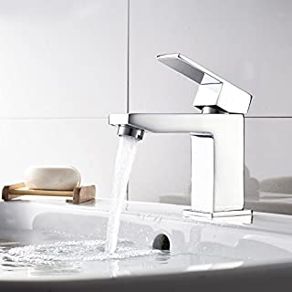 Modern Bathroom Square Mini Mono Basin Sink Mixer Tap Lever Handle Chrome