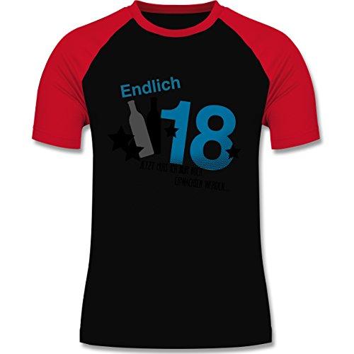 Geburtstag - Endlich 18_Blau - zweifarbiges Baseballshirt für Männer Schwarz/Rot