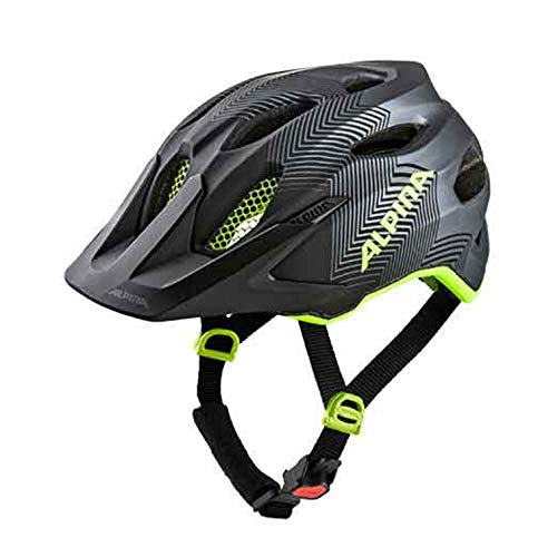 Alpina Sport Kinder Jugend Fahrradhelm Carapax JR. Black-neon-Yellow 51-56 cm