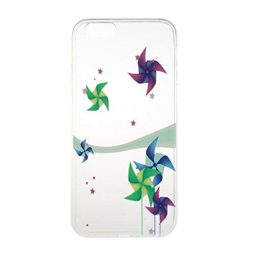 """Für iPhone 6 Plus/6S Plus 5.5"""" [Scratch-Resistant] Weichem Handytasche Weich Flexibel Silikon Hülle,Für iPhone 6 Plus/6S Plus 5.5"""" TPU Hülle Back Cover Schutzhülle Silikon Crystal Kirstall Durchschaue Bunt Windmühle"""