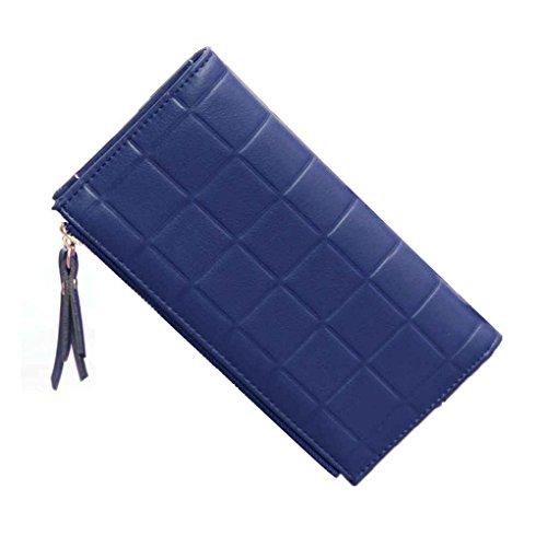 Miaomiao Borsa lunga della frizione della grata delle donne con il portafoglio in rilievo del portafoglio del portafoglio Doppio portachiavi della chiusura lampo blu navy