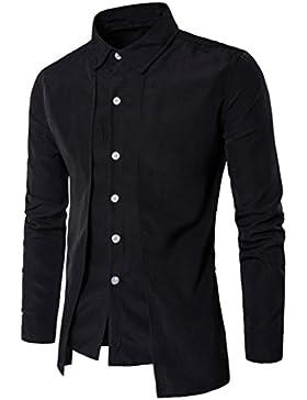 Blusa de hombre,Zarupeng Camisa de vestir delgada de la camisa formal de vestir de manga larga de la camisa formal...