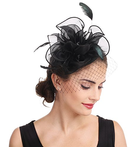 Fascinators Hut Cocktail Party Tee Kopfbedeckung Blume Mesh Organza Bänder Federn auf einem Stirnband und Gabel Clip für Mädchen und Damen (Floral Mesh Schwarz)