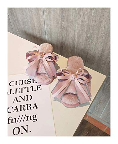 chen Frauen Winter Home Hausschuhe Warm Anti-Slip Innen Soft Bequem Baumwolle Velours Bow Tie Boden Schuhe, 39-40, Rosa ()