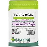 Lindens Ácido fólico 400 mcg en comprimidos | 240 Paquete | Apoya la formación normal de la sangre, la función.