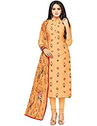 Applecreation Women's Cotton Chanderi Salwar Suits Material (Peach_Salwar Suit_21DMK632_Free Size)