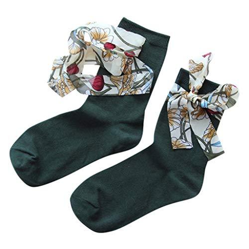Chejarity Damen Sneaker Socken Lässige Atmungsaktiv Retro Tie-Bow Süsse Mid Tube Halbsocken Baumwolle Kniestrümpfe Socken Bogen Kniestrumpf Schuluniform Socken Mädchen Socken (One Size, Grün) -