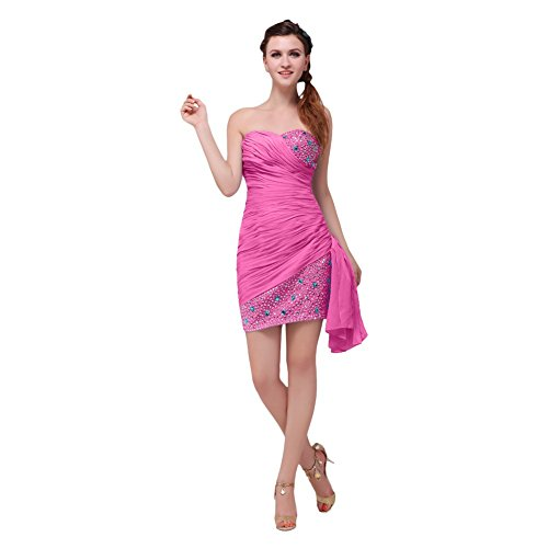 Lemandy Robe courte mousseline brillant Fuchsia