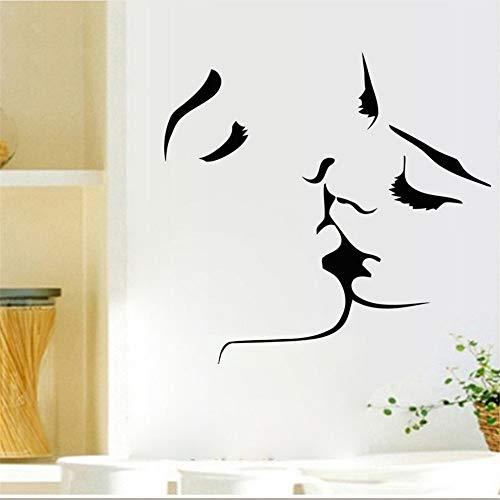 Cmdyz Liebhaber Kuss Silhouette Wandaufkleber Schwarz Kuss Gesicht Skizze Wand Poster Tapete Dekoration Zubehör Aufkleber Größe 59 * 57 Cm