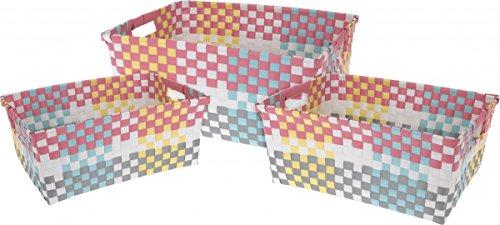 Korbset bunt Kunststoff 3 Stück rechteckig