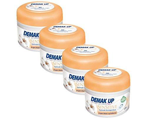 Demak'Up Sensitive imprägnierte Abschminkpads, Wattepads für empfindliche Haut, 4 Dosen x 30 Cotton Pads (120 Cotton Pads)