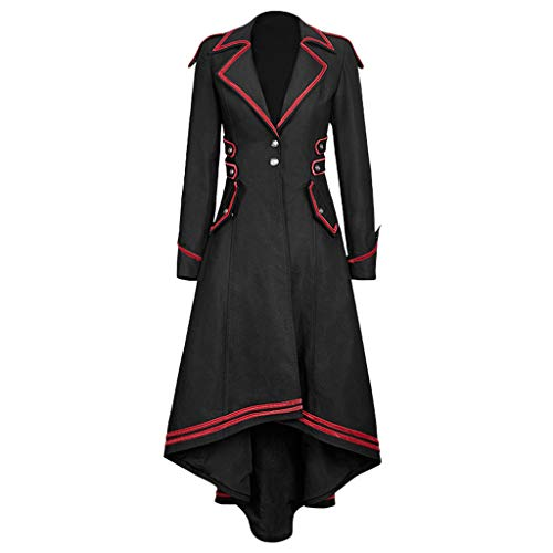 Lazzboy Kostüm Retro Renaissance Cosplay Damen Frauen Gothic Lange Jacke Schwalbenschwanz Mantel Vintage Mittelalter Outfits Kleid Trompetenärmel Party Bodenlang (Schwarz,2XL)