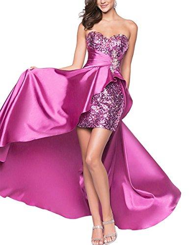 Bbonlinedress Robe de soirée Robe de bal emperlée en satin bustier en cœur Pourpre