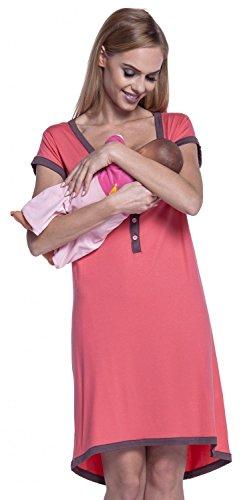 HAPPY MAMA. Damen Umstands-Nachthemd mit Stillfunktion. Stillshirt Kurzarm. 981p (Koralle & Cappuccino, 38-40, L)