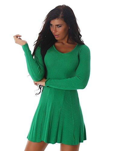 24brands Damen Kleid Feinripp Strickkleid langarm Minikleid mit Volants ausgestellt - 3172 Modell 1 Grün