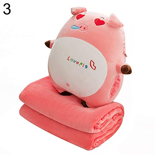 B5645ells Tier Spielzeug Klimaanlage Decke Schwein Puppe Flanell Handwärmer weich simuliert 3# Random Color# - Euro Tagesdecke