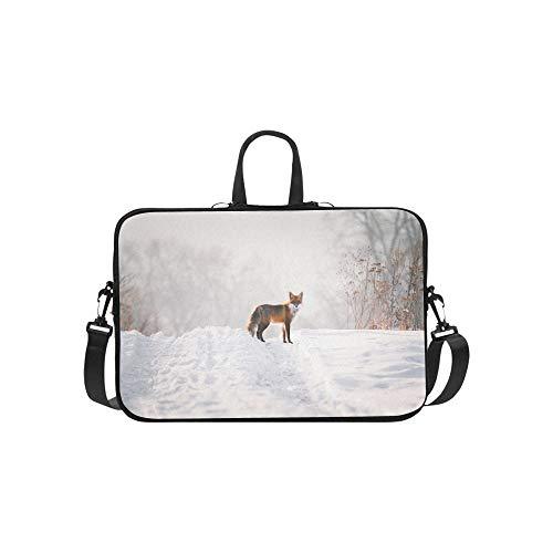 Red Fox im weißen Schnee Muster Aktenkoffer Laptoptasche Messenger Schulter Arbeitstasche Crossbody Handtasche für Geschäftsreisen (Pelz Fox Red)