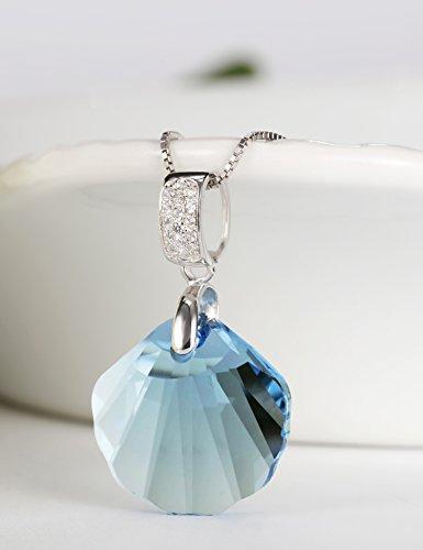 MURTOO Bijoux Femme Sautoir Collier Pendentif Argent 925 forme Coquille en Cristal Swarovski Element NEUF livraison gratuite Couleur Pour Le Cadeau Bleu marine