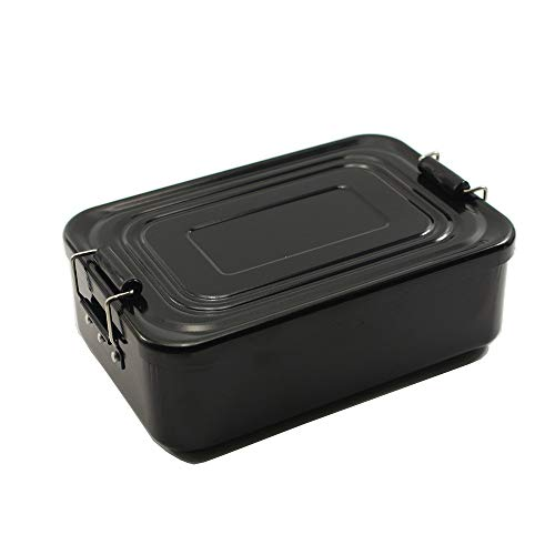C Five Lunch Boxes Black Food Lunch Box OZ 49 OZ in Acciaio Inossidabile con Fermagli Adatti per Studenti Studenti Adulti (Totalmente 49 OZ)