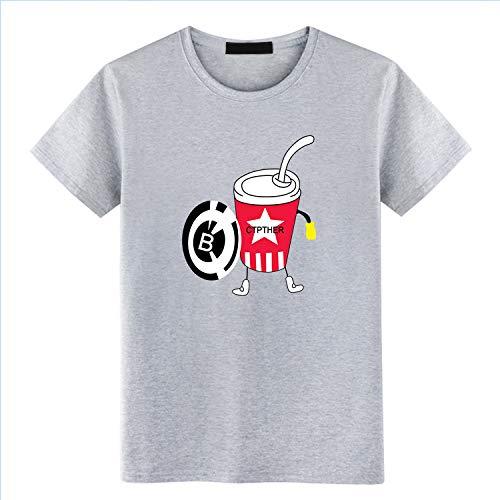 Lockeres kurzärmliges Herren-T-Shirt mit Rundhalsausschnitt, Druck auf Basis von Europa und Amerika, Größe 3XL, grau