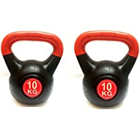 2 x 10kg FXR PLASTIC COATED KETTLEBELLS GYM FITNESS EXERCISE TRAINING KETTLEBELL