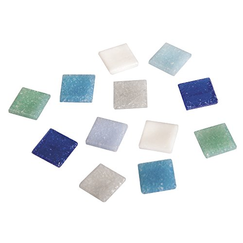 RAYHER Mosaic Tiles Bucket for Arts and Crafts, Glass, Blue Shades, 1x1 cm, 1 kg, 1300-Piece