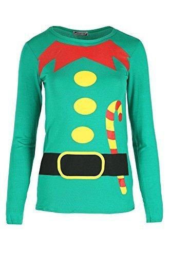 Damen Weihnachten T-shirt Damen Weihnachten Elfe Kostüm Candy-stick Langärmliges Oberteil - Jadegrün, S/M (36/38) (M&m T Shirt Kostüm)