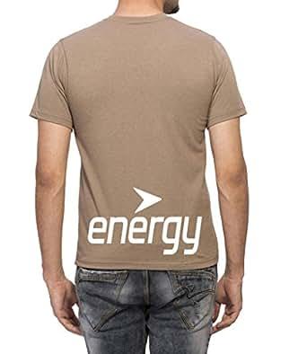 Clifton Mens BB Printed Half Sleeve V-Neck T-Shirt-Walnut Melange-White Energy-S