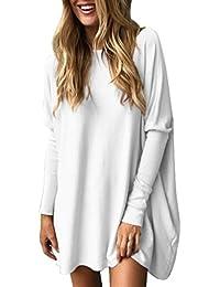 ABCone-Donna Pullover  S-XL Felpa Round Neck Loose Solid Batwin T-Shirt  Maniche Lunghe Elegante Autunno Camicette… 671c9b5b282
