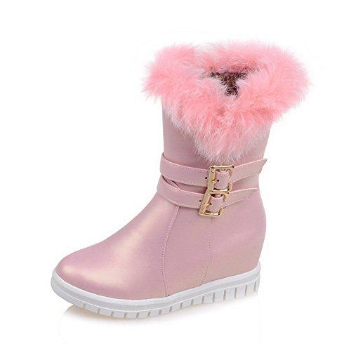 VogueZone009 Damen Rund Zehe Mittler Absatz Weiches Material Niedrig-Spitze Rein Stiefel Pink