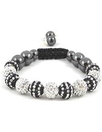 11-Ball Dual Double Colour Row Black and White Bead Shamballa Bracelet on White & Black String ** EXCLUSIVE DESIGN **