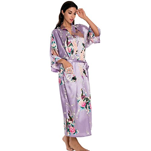 Femmes Robe longue Robe kimono vinaigrette violet clair