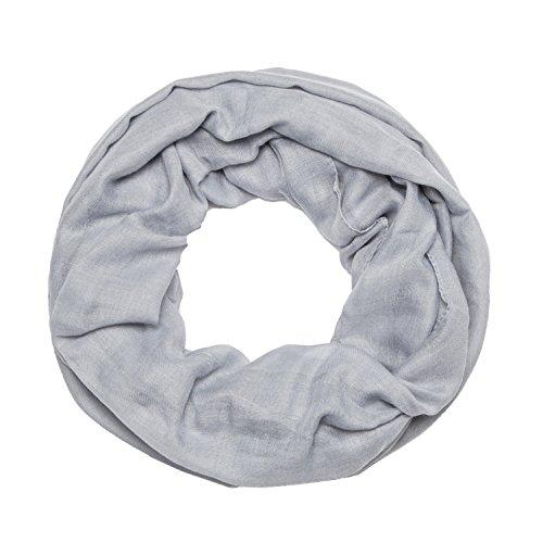 MANUMAR Loop-Schal für Damen einfarbig | feines Hals-Tuch in hell-grau als perfektes Herbst Winter Accessoire | Schlauch-Schal | Damen-Schal | Rund-Schal | Geschenkidee für Frauen und Mädchen