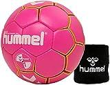 Hummel Kinder Handball Kids 091792 Größe 00/0/1 im Set mit Schweißband Old School Small Wristband 99015 (schwarz) (Pink/Yellow (3028), 00)