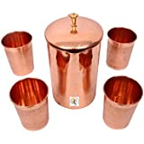 Engraved Copper Jar With 4 Glasses